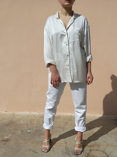 Vintage Collared Silk Blouse in White