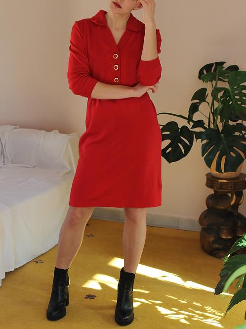 Vintage 80s Wool Slip Dress in Red