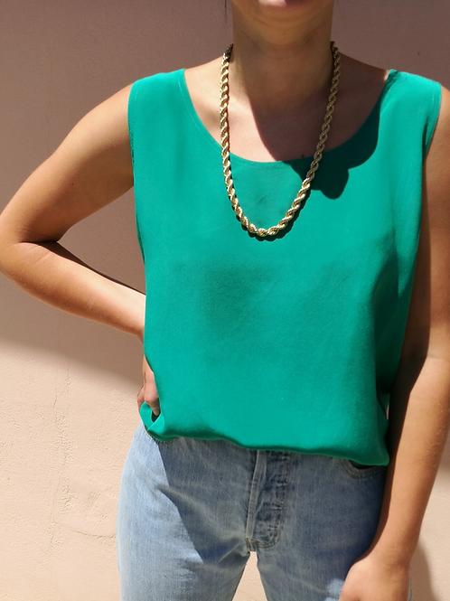 Vintage Silk Sleeveless Top in Green