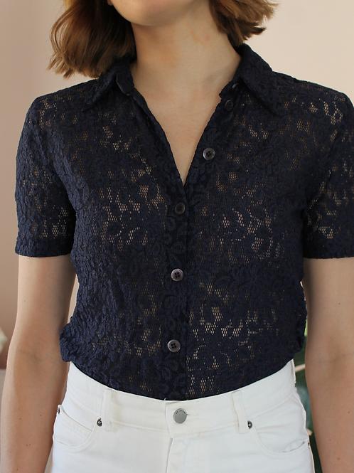 Vintage Lace Blouse in Navy Blue - (EU40)