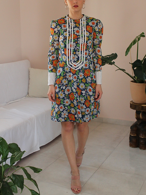 70s Vintage Midi Floral Dress - (EU 36-38)