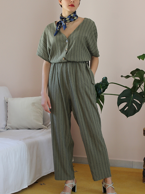 90s Vintage Ribbed Jumpsuit in Green - (EU40-44)