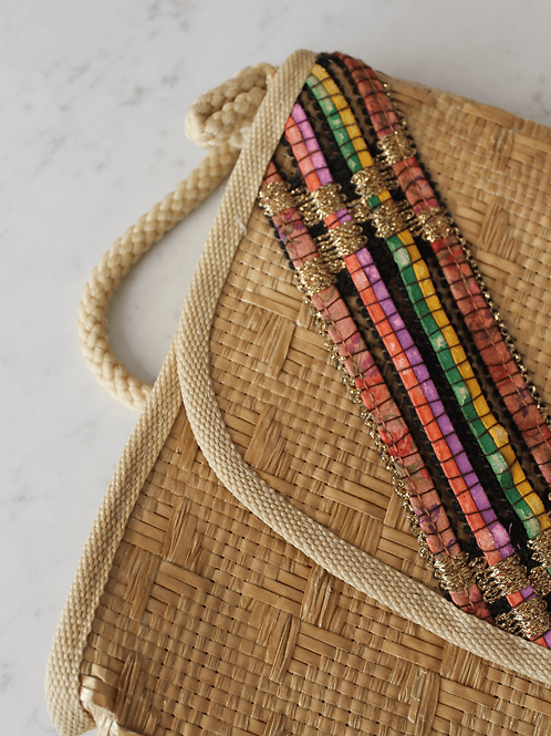Italian Vintage Embroidered Straw Bag