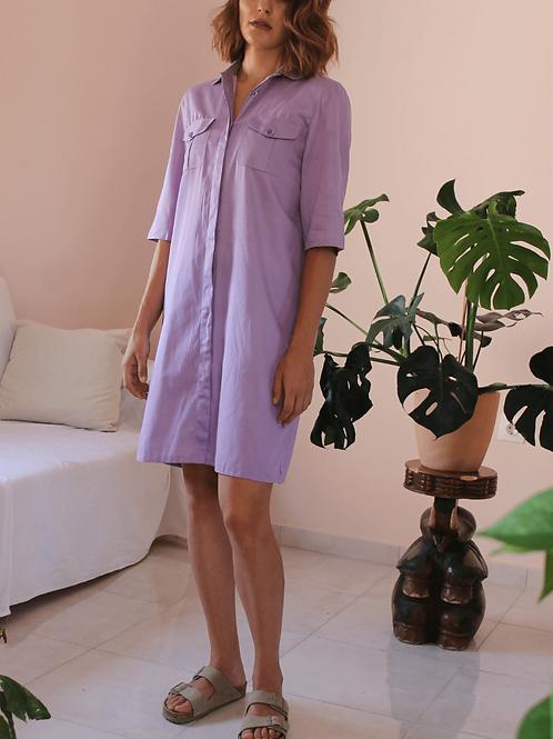 90s Vintage Shirt Dress in Purple - (EU42-44)