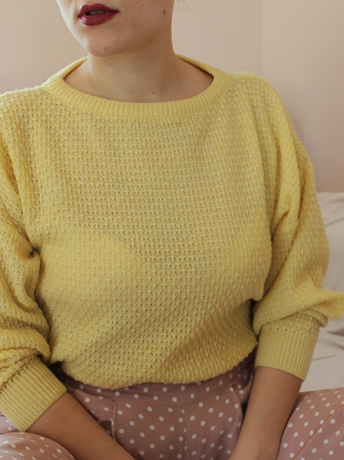 90s Vintage Sweater in Yellow - (EU46-48)