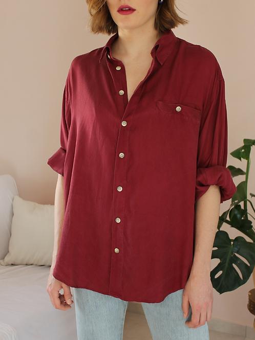 90s Vintage Silk Shirt in Wine Red - (EU52)