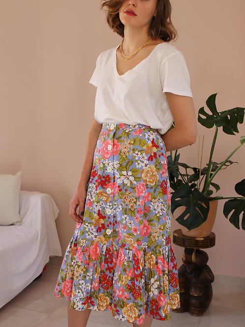 90s Vintage Floral Ruffle Skirt - (EU40-42)