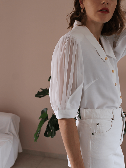 90s Vintage Statement Sleeves Blouse in White - (EU46)