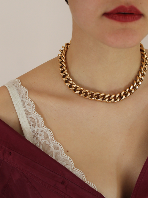 90s Vintage Cuban Link Chain Necklace