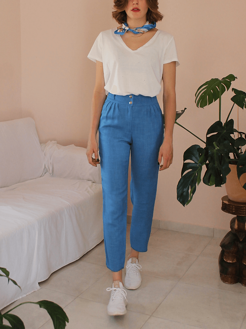 90s Vintage Linen Tapered Trousers - (EU38)