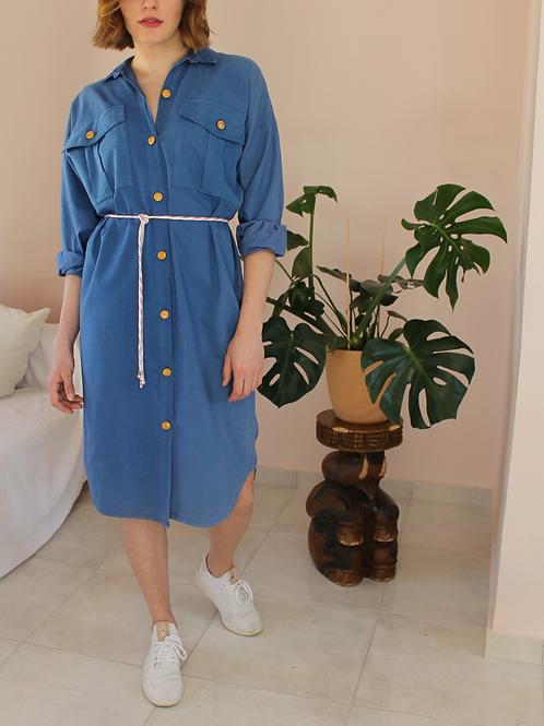 90s Vintage Button Up Utility Dress in Blue - (EU44-46)