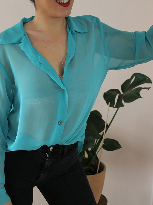 Vintage 90s Sheer Button Up Shirt in Turqoise