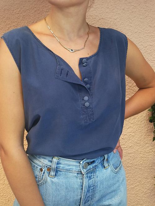 Vintage Silk Top in Navy Blue