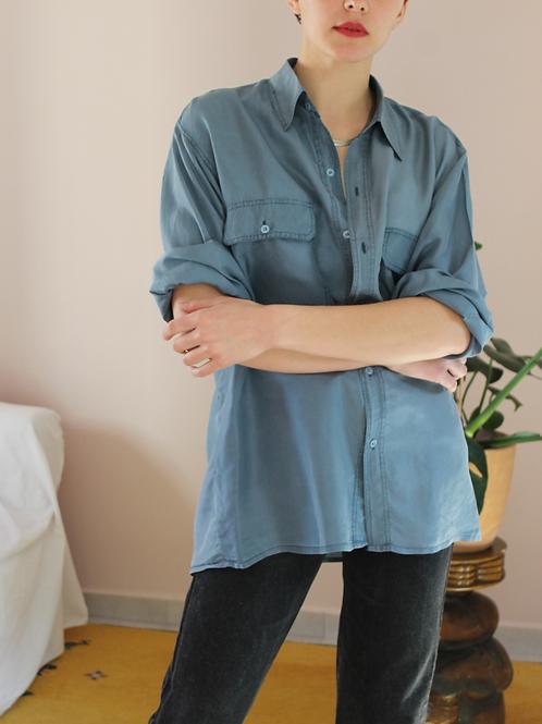 90s Vintage Silk Shirt in Aegean Blue