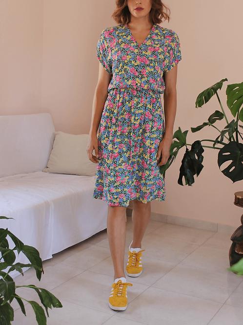 French Vintage Floral Day Dress - (EU40-42)