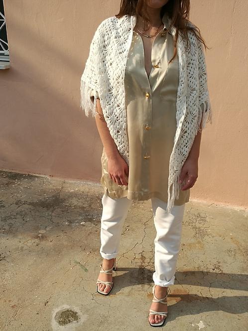 Vintage Collared Silk Blouse in Beige