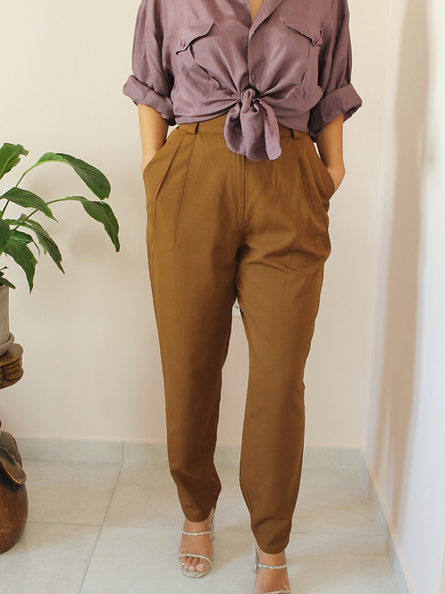 Vintage High Waisted Tapered Pants in Brown