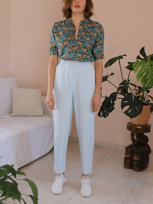 90s Vintage Cotton Trousers in Baby Blue - (EU42)