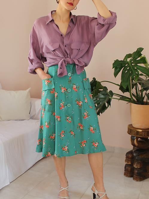 90s Vintage Floral Skirt in Green - (EU38)
