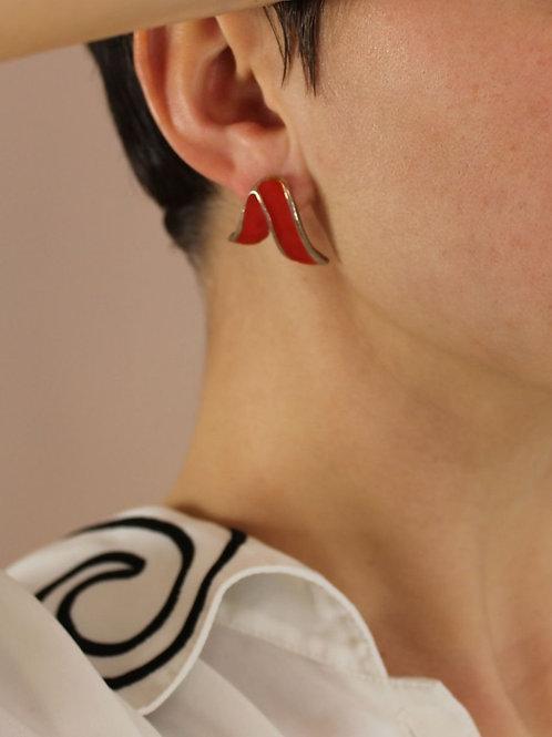 70s Vintage Red Enamel Statement Earrings