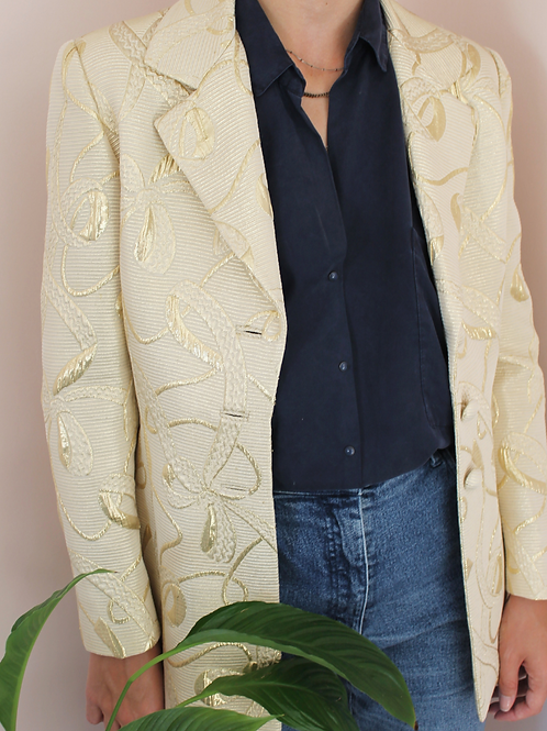 Vintage Embroidered Taffeta Blazer in Gold