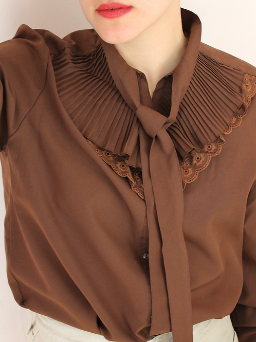 90s Vintage Ruffle Collar Blouse in Brown