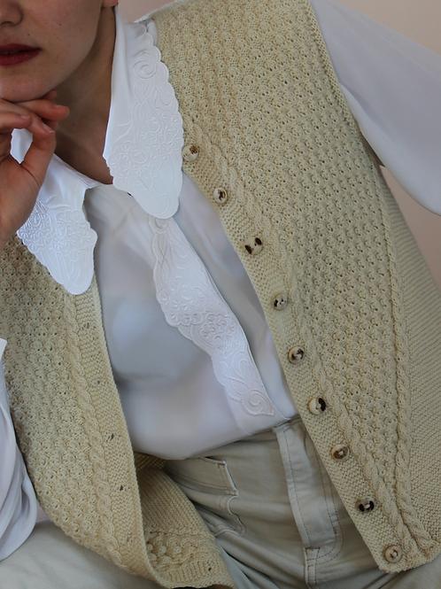 Vintage Handknitted Wool Vest in Cream White