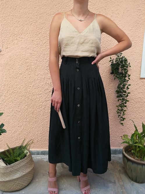 Vintage Buttoned Up Maxi Skirt in Black