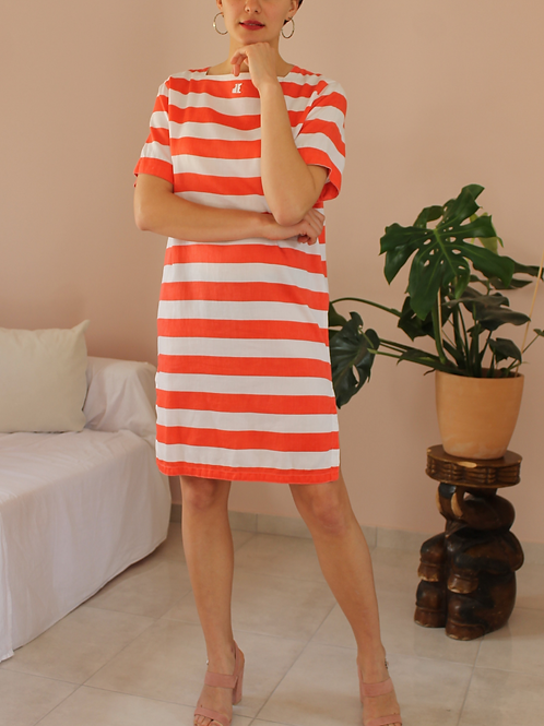 Vintage Cotton Striped Dress in Red