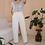 Thumbnail: 80s Vintage White Cotton Trousers - (EU40)