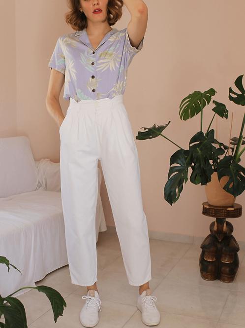 80s Vintage White Cotton Trousers - (EU40)