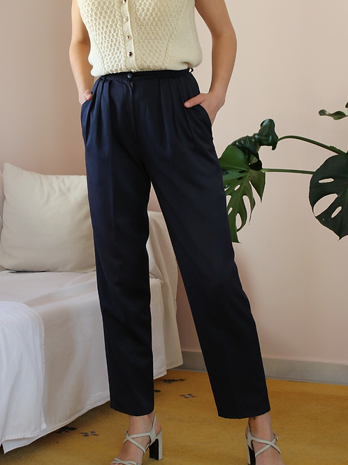 90s Vintage Smart Casual Trousers in Navy Blue, W26/L29