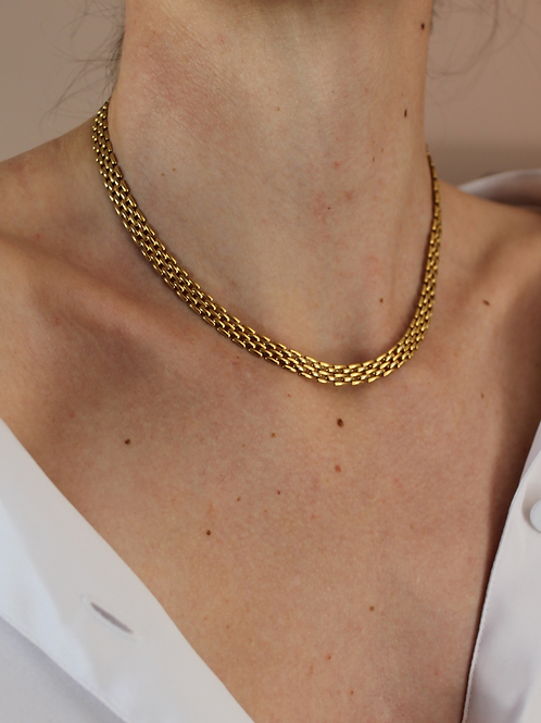 70s Vintage Gold Toned Mesh Chain Necklace