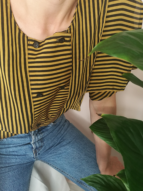 Vintage Striped Blouse in Yellow