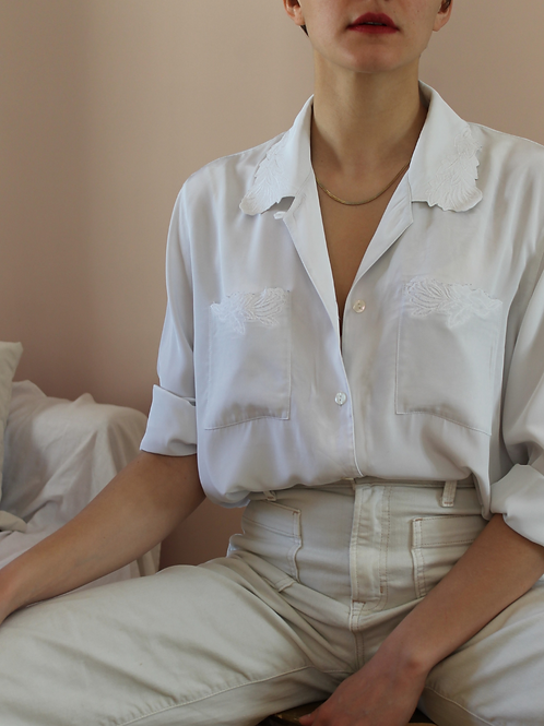 90s Vintage Embroidered Collar Blouse in White - (EU48)