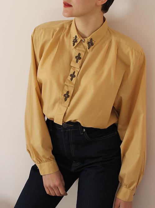 80s Vintage Embellished Blouse in Caramel Brown