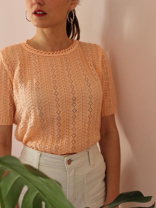 Vintage Summer Cut Out Knit in Pastel Peach (EU36-38)