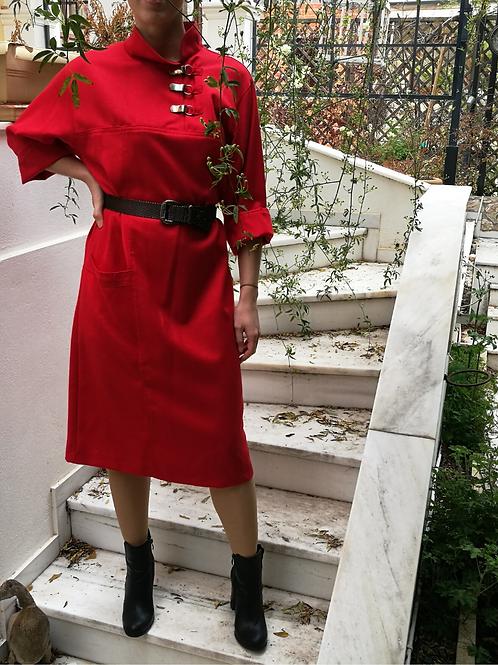 Vintage Maxi Slip Wool Dress in Red
