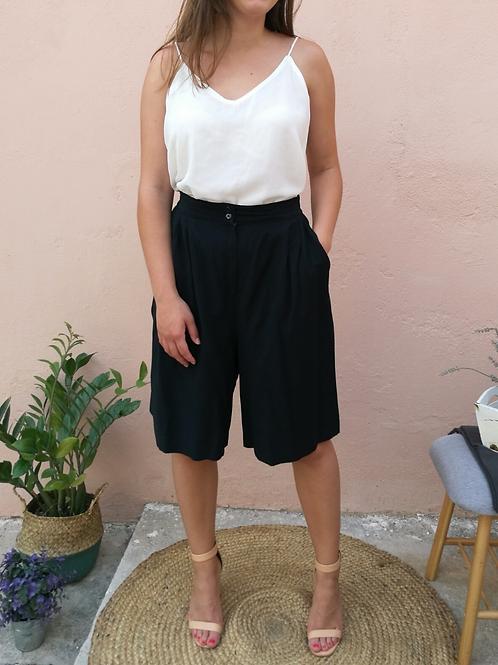 Vintage Cotton Culottes Pants in Black