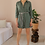 Thumbnail: Preloved Cotton Playsuit in Olive Green - (EU42)