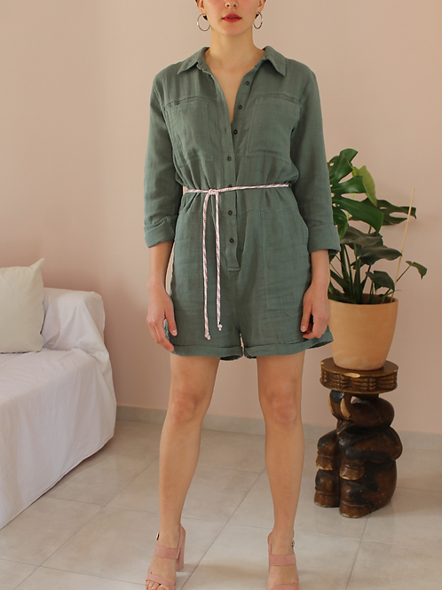 Preloved Cotton Playsuit in Olive Green - (EU42)