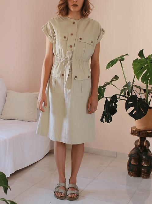 Vintage Utility Linen Dress - (EU42)