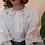 Thumbnail: 90s Vintage Statement Collar Blouse in White - (EU44)