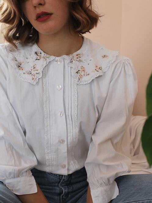 90s Vintage Statement Collar Blouse in White - (EU44)