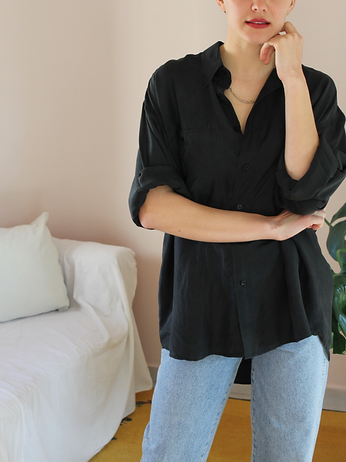 90s Vintage Silk Shirt in Black