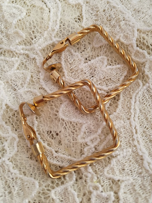 Vintage Gold Plated Square Earrings