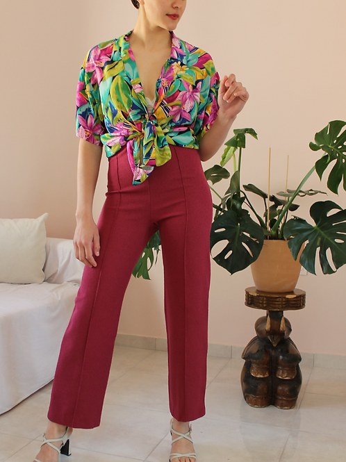 70s Vintage  High Waisted Trousers in Hibiscus Red, W27/L28