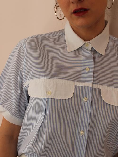 90s Vintage Striped Blouse In Blue (EU42)
