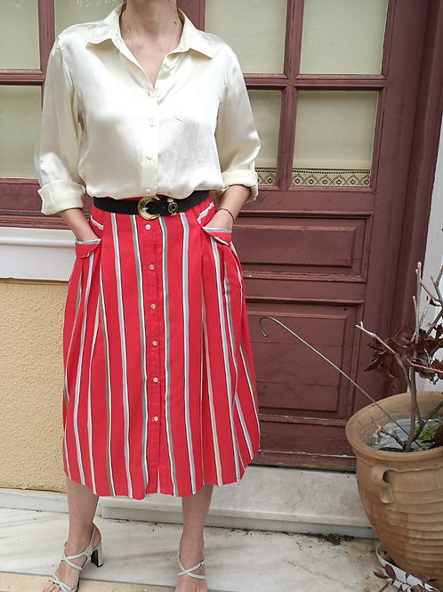 Vintage Button Down Striped Skirt in Red