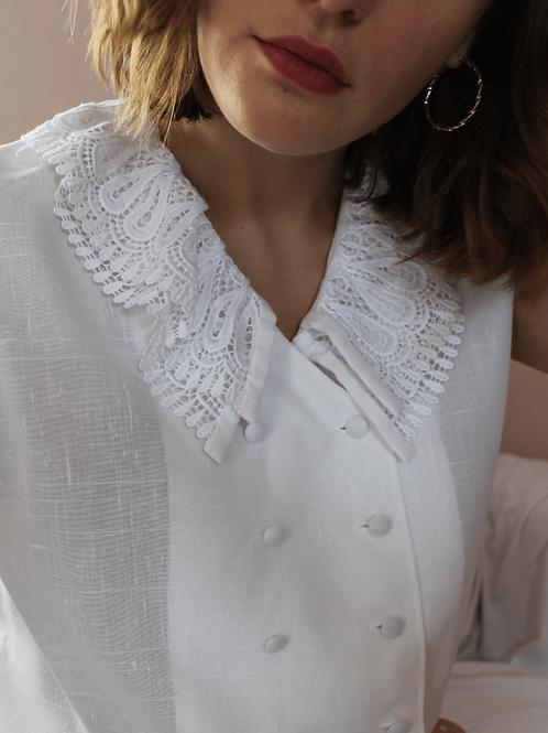 90s Vintage Double Collar Blouse in White - (EU44)